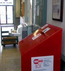 Albion's RedMed Box is inside City Hall, available from 8-5 weekdays, and also evenings when there is a City Council meeting. The 1st and 3rd Mondays of each month.